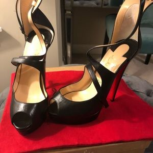 Christian Louboutin high heel black leather sandal
